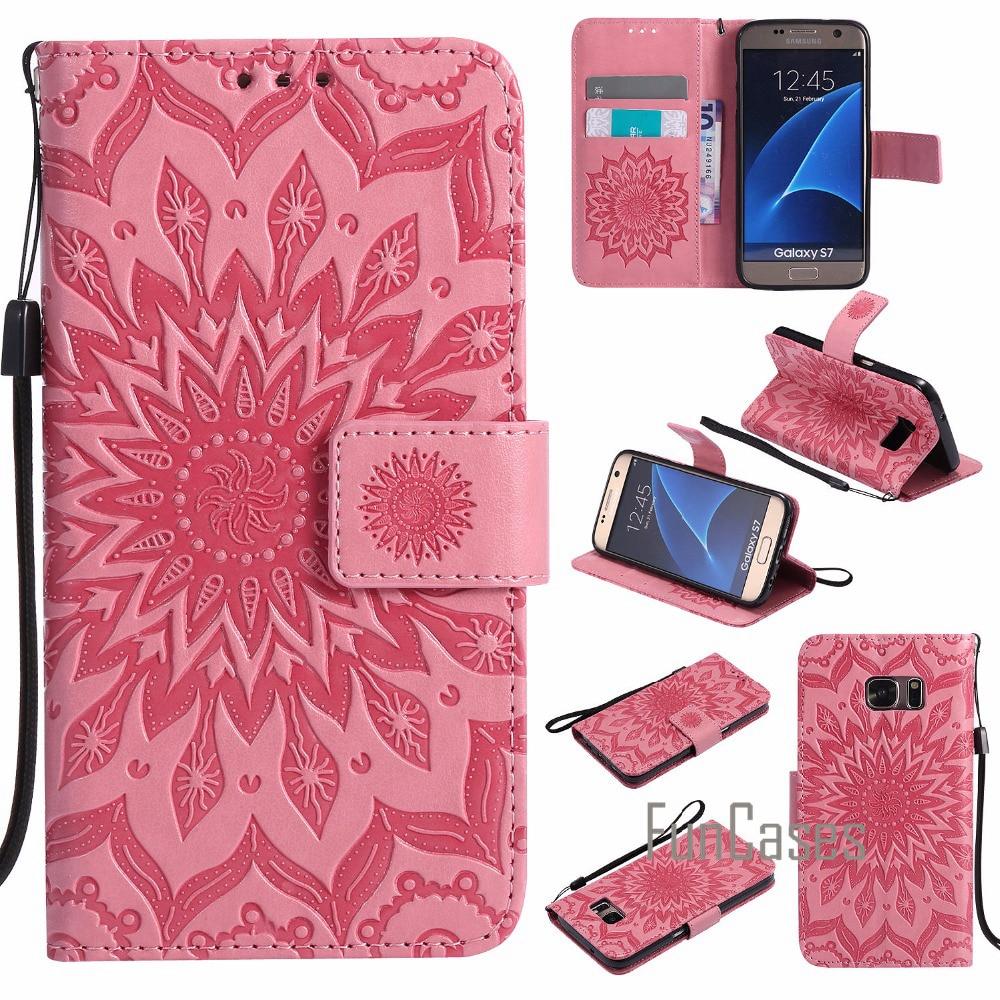 Embossed Pattern Case sFor fundas Samsung Galaxy S7 Edge Case sFor coque Galaxy S7 / S7 Edge Case + Card Holders sum sung