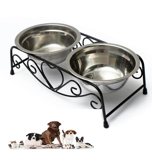 Double Bowls Pet Feeder Dog Cat Pet Stainless Steel <font><b>Water</b></font> <font><b>Food</b></font> Dispenser Dish Iron Stand Portable Pet Feeding Tools Gadgets