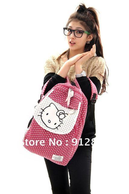 The Korean style of the backpack Polka Dot Canvas Backpack Bags hello kitty  Backpack girl cute 11b5c2bd70495