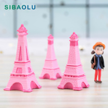 1pc NEW Pink Flower Tower figurine 3D Building model fairy garden Resin Craft  home decoration DIY accessories
