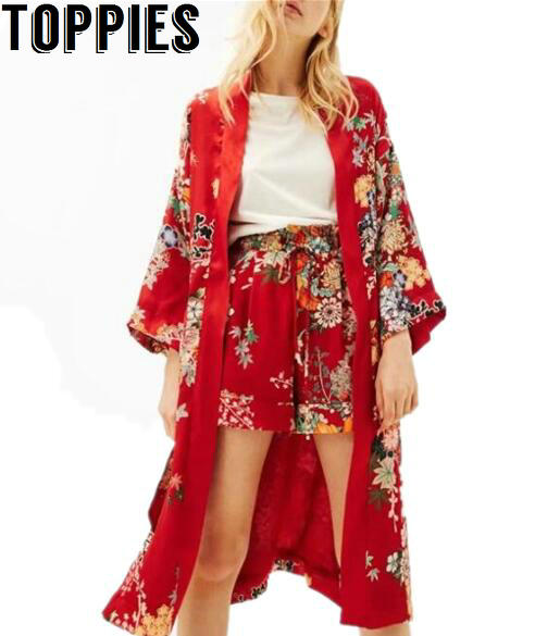 Women Long Sleeves Chinese Traditional Red Floral Kimono Cardigan ...