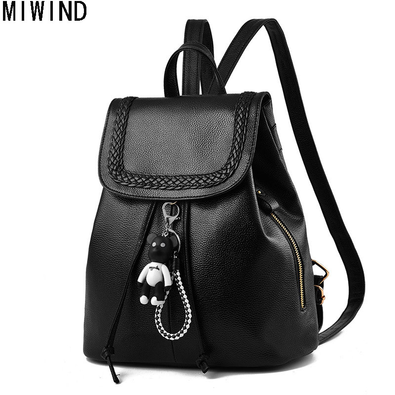 Women Backpack Brand Soft Leather Rucksack 2017 Fashion Girl School Bag Travel Bag For Student MochilaTeenage Bag TXY1198 2017 fashion women waterproof oxford backpack famous designers brand shoulder bag leisure backpack for girl and college student