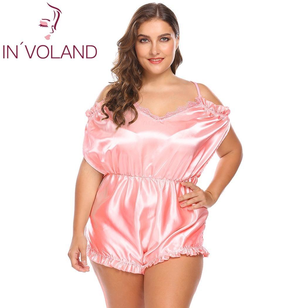 a43e6c4a2de IN VOLAND Plus Size Women Onesies Sleepwear L 4XL Sexy Lingerie V Neck  Ruffles Trim Satin One Piece Large Silk Bodysuit Big Size on Aliexpress.com