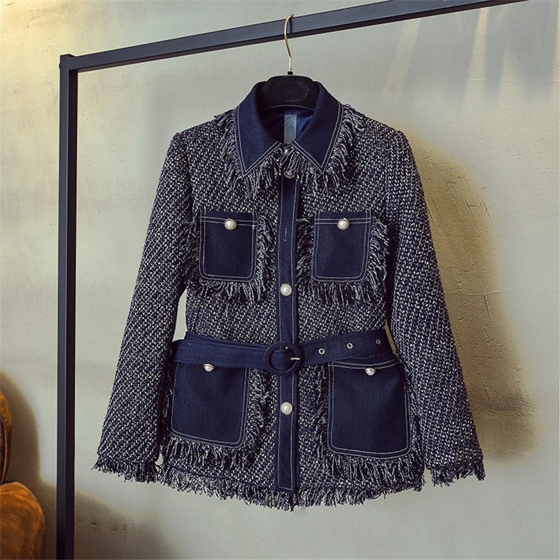 Luxury Designer Brand Jacket For Women Fashion Denim Stitching Sapphire Blue Multi Pocket Tassel Tweed Coat