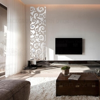 DIY Roll Grass Pattern Traditional Chinese 3D Decoration Mirror Art Wall Home Decor For Living Room