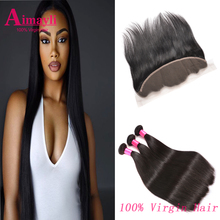 Brazilian Straight Hair With Frontal 13*4 Ear To Ear Lace Frontal Closure With 3 Bundles Brazilian Virgin Hair With Lace Frontal