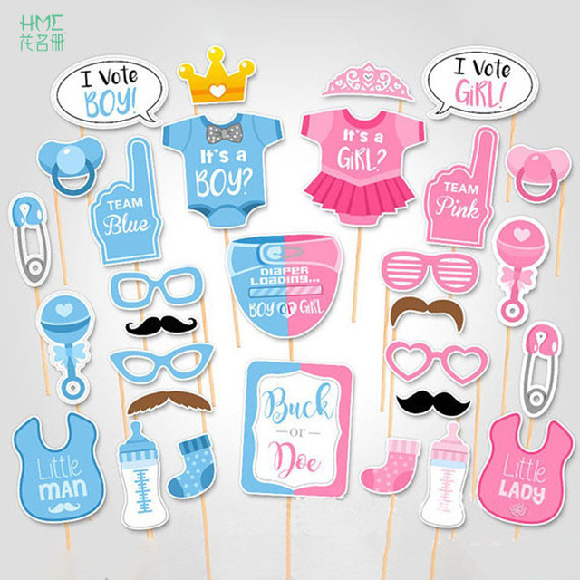 25 30pcs Baby Shower Photo Booth Props Its A Boy Girl Favors Party  Decorations Supplies
