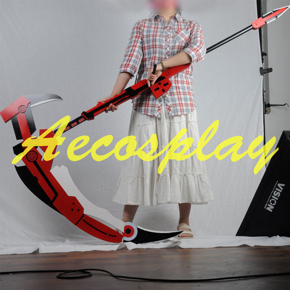 RWBY Ruby Rose Crescent Sniper-Scythe Replica PVC Cosplay Prop WHOLESALE 180CM Halloween Weapons