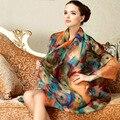 Высокого класса Подарочной Коробке 100% Шелковые Шарфы Моде Шелк Большие Пляжные Полотенца Женские Шарфы Платки