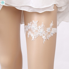 CZY Sexy white lace garters Elegant lace garters European  American brides'wedding accessories Flower Beading Garters for bride czy black sexy bride lace socks of wedding garter thigh ring czy party embroidery flower beading black sexy garters for bride