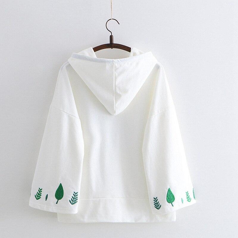 WXCTEAM Weed Leaf Embroidery Hoodie Casual Streetwear Cotton Daily Sweatshirt Women Girl Harajuku Hoodies