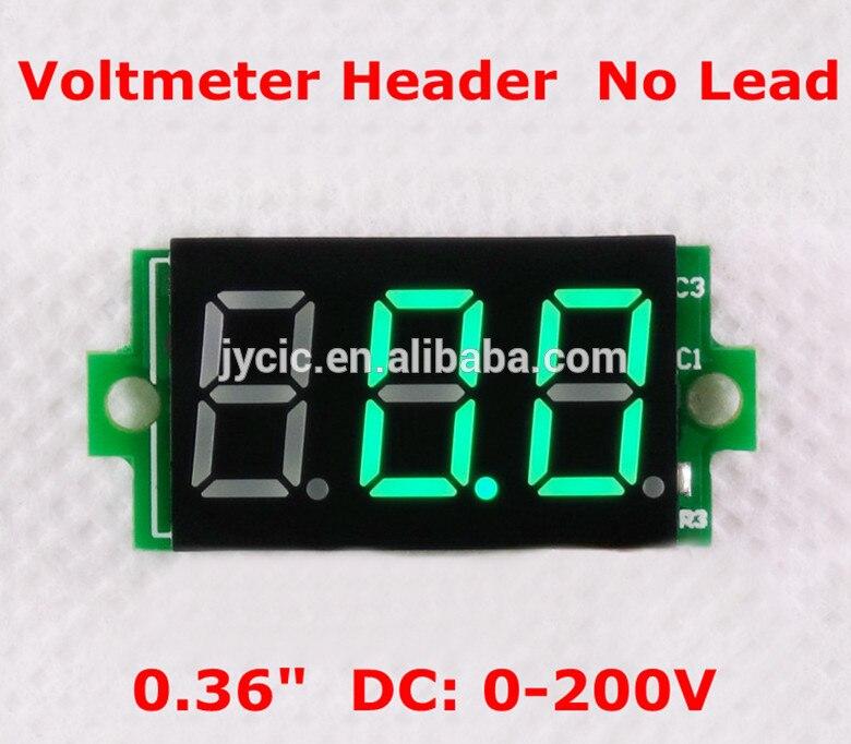 0.36 Digital Voltmeter Header 0-200V 3 digit green without wire
