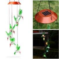 Fashion Wind Chime LED Light Solar Changing Color Hummingbird Hanging Lawn Yard Garden Home Decoration -- WWO66