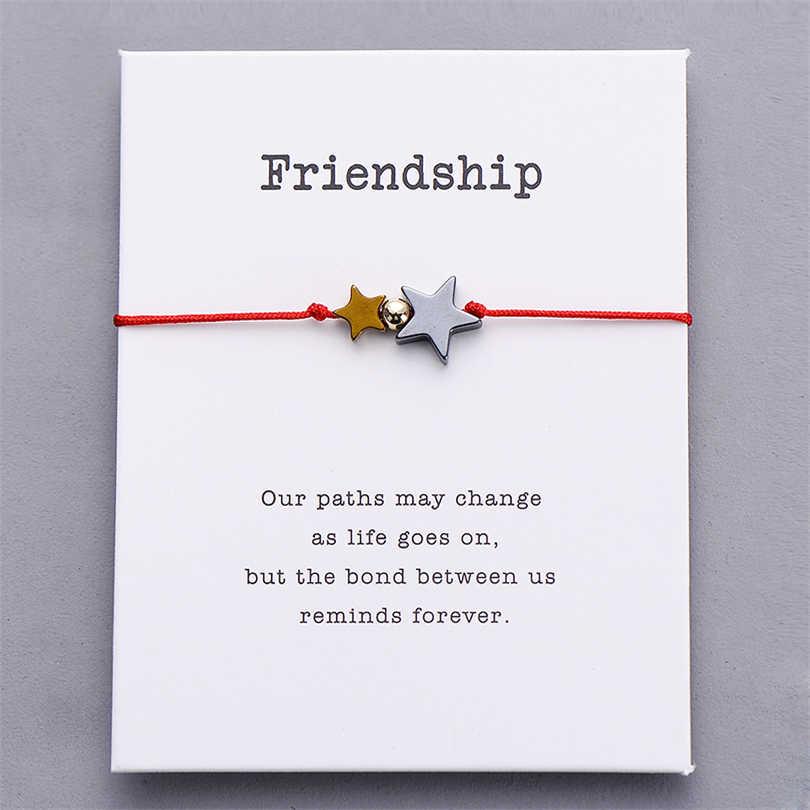 Pipitree Altın Siyah Hematit Çift Yıldız Charm Bilezik Kadın Erkek Şanslı Kırmızı Dize Dostluk Bilezikler İstek Takı Hediye