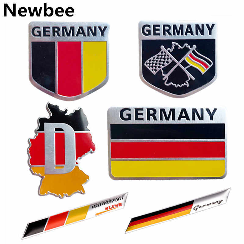 Newbee Metal 3D Germany German Flag Badge Emblem Deutsch Car Sticker Decal Grille Bumper Window Body Decoration for Benz VW Audi