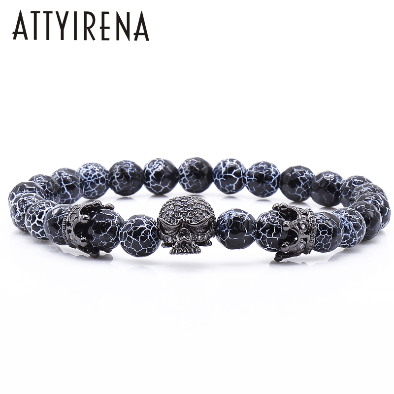 New Design Stone Bracelet Men Women Popular Stone Bracelet Skull Micro Pave CZ beads Skull Male Bracelet Crown Zircon Bracelets new zircon bracelets men jewelry cubic micro pave cz crown charm