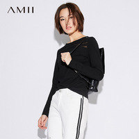 Amii Casual Women T Shirts 2017 Autumn Solid Hollow Out O Neck Long SleeveO Neck Long