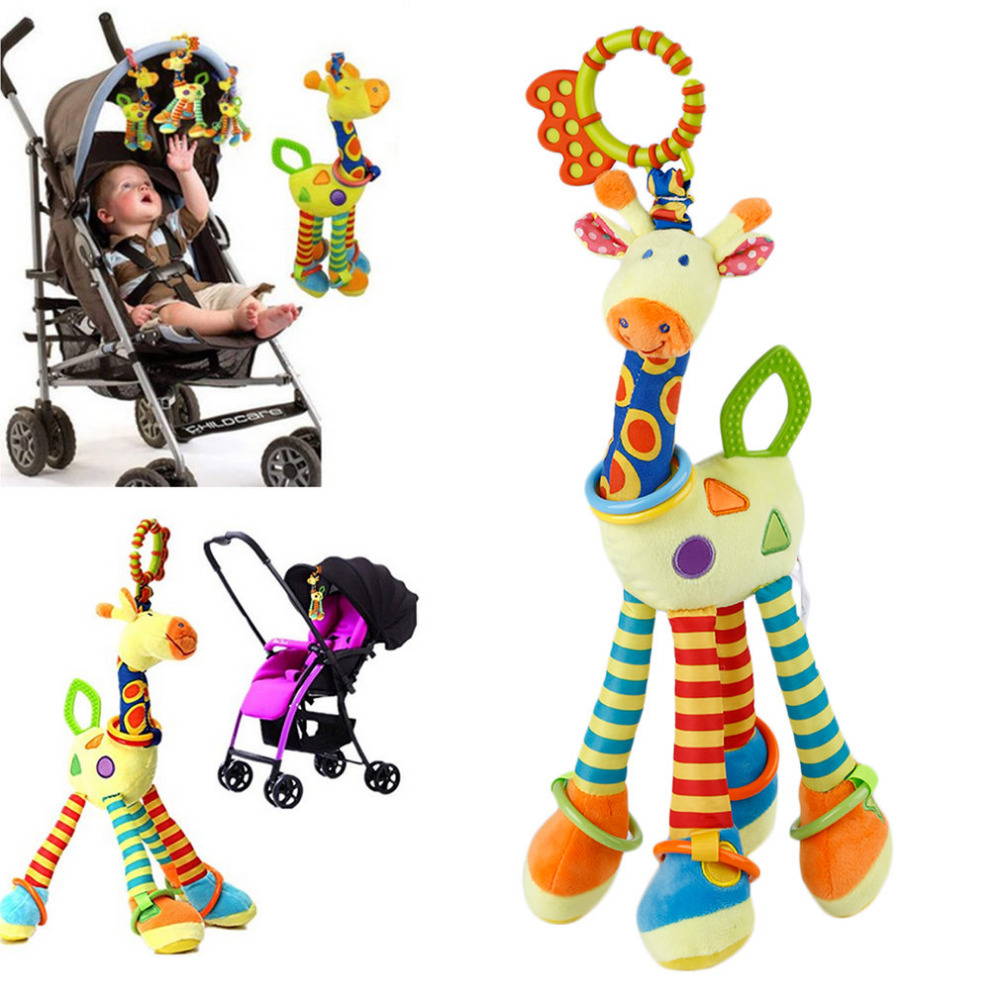2017 New Brand Lovely and Beautiful Grow Stretch the Giraffe Baby Soft Hanging Toy for Pram Car Seat Hanging Bell for Kid