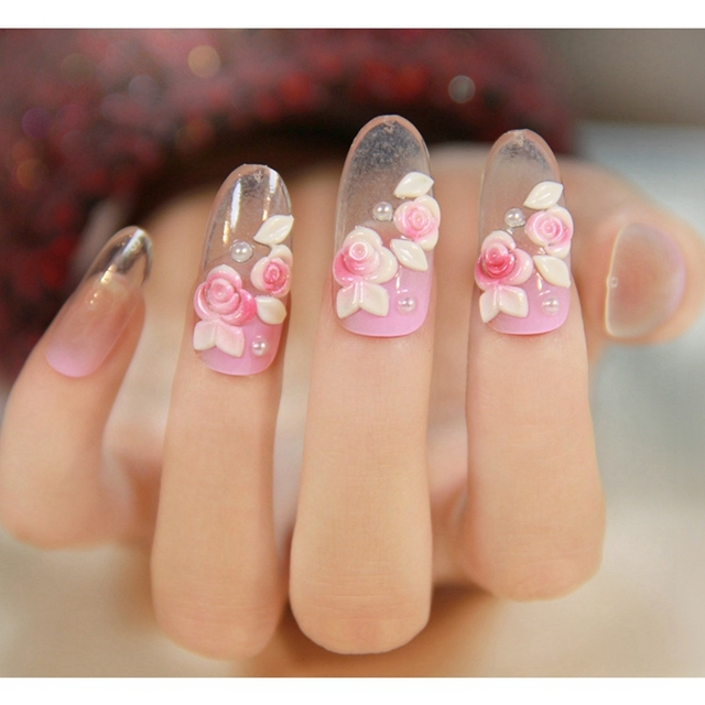24pcsbox elegant style clear acrylic fake nails pink rose oval 24pcsbox elegant style clear acrylic fake nails pink rose oval tips nail art design prinsesfo Choice Image