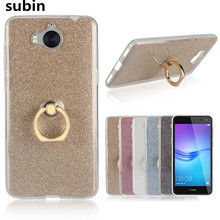 For Huawei Y6 2017 Case 5.0 inch Flash powder 3D Relief Silicone Soft For Huawei Y6 (2017) Cover TPU With Ring Phone Bag
