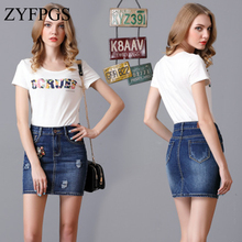 ZYFPGS 2019 Denim Skirt Pants For Women Summer Blue Wash Mini Pencil Skirt Sexy Ripped 5 Pocket Original Brand Design Z0505 chic bleach wash pocket design raw edge denim shorts for women