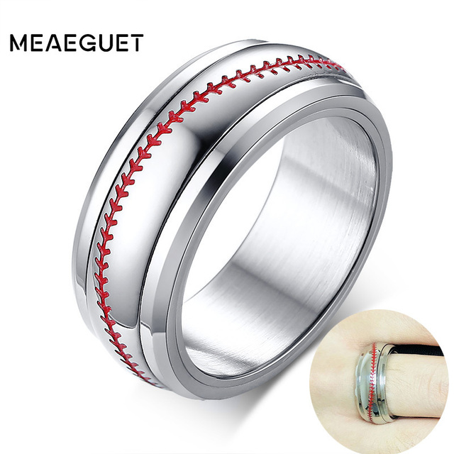 Sports Baseball Ring Wedding Band With Red Sching Comfort Fit Dome Silver Color 8mm Man Rings