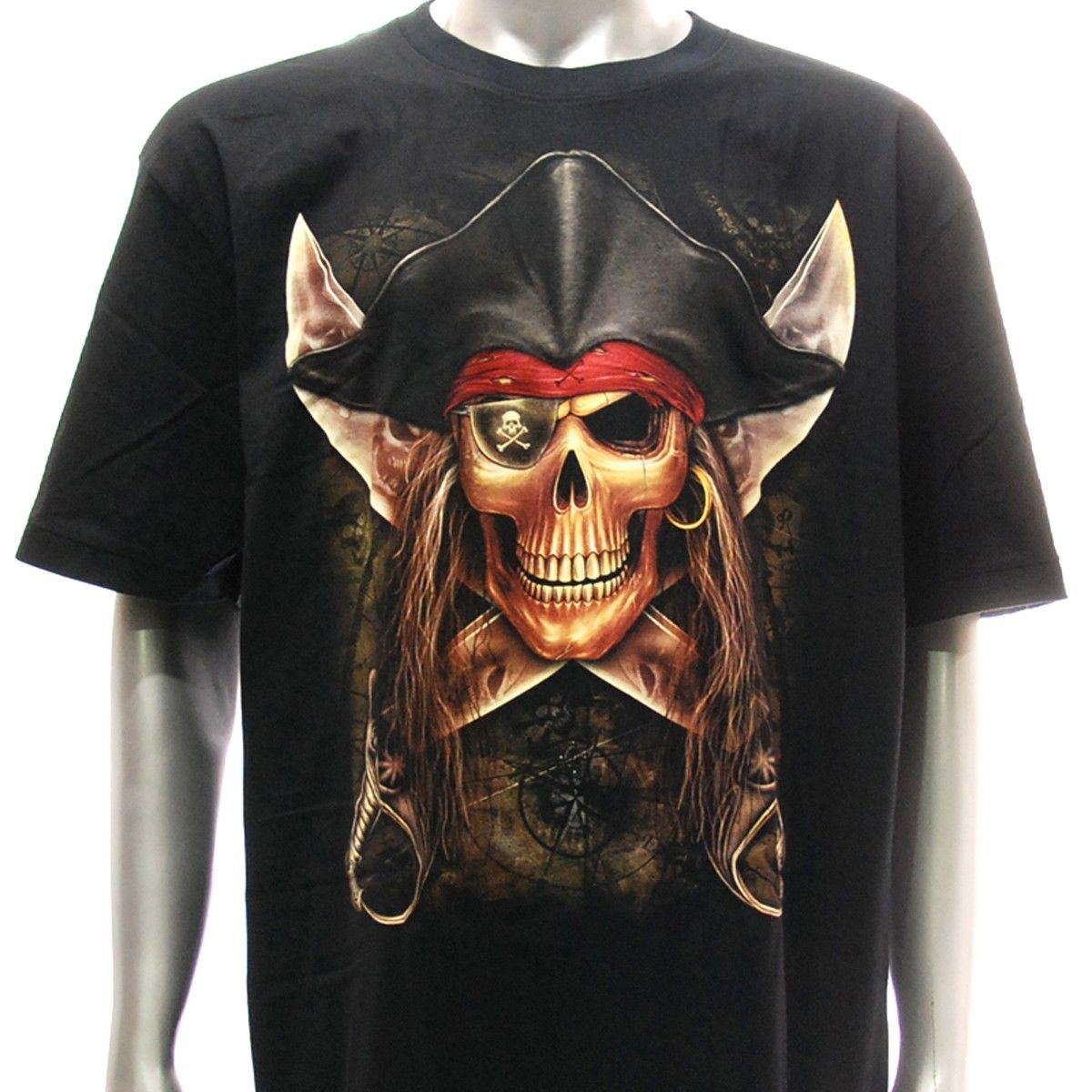 Details about the r134 Rock Eagle tattoo skull and bones glowing in the dark pirate ghost ship Caribbean