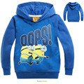 2016 New Spring&Autumn DespicableMe Minion Baby Boys&Girl Fashion Cartoon Hoodies&Sweatshirts Long Sleeve Cute Children Coats