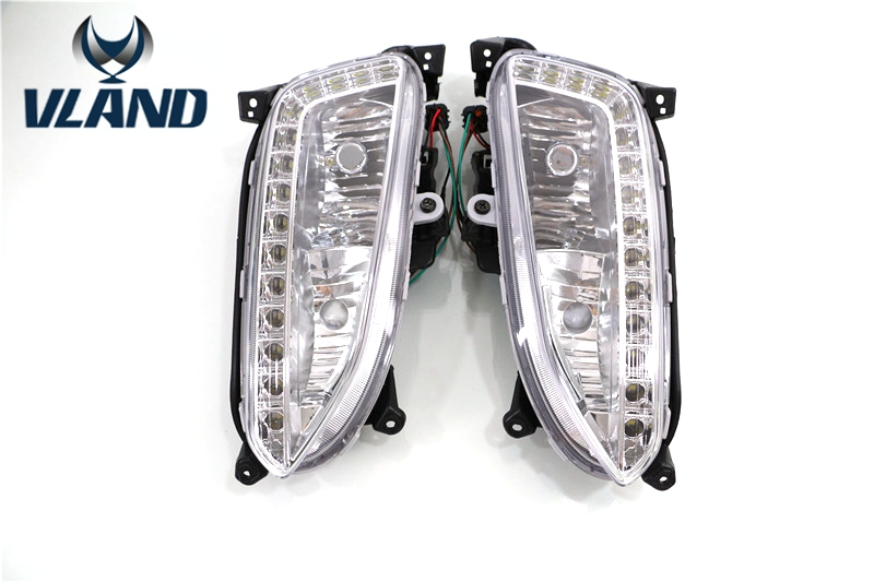 Vland factory for fog lamp for Hyundai IX45 DRL 2013 2014 2015 for New SantaFe LED DRL Daytime Running Light Car fog Lamp led daytime running lights for hyundai grand santa fe ix45 2013 2018 drl fog lamps