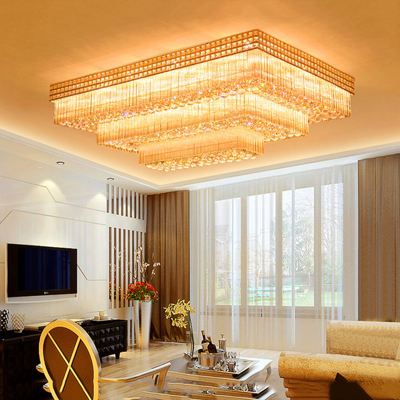 FUMAT 2 Or 3Layers Rectangular Crystal K9 Stainess Steel LED Ceiling Lamp Modern Luxury Crystal For