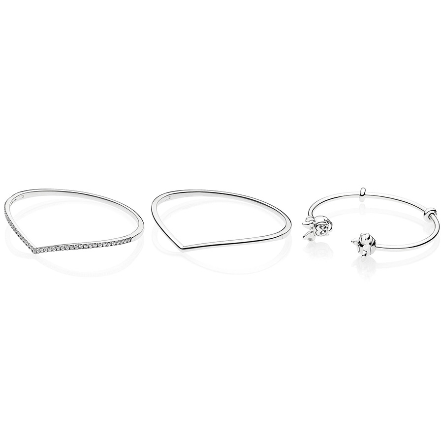 3 Size Diy New 925 Sterling Silver Bangles Lovely Mouse Buckle With Crystal For Women Wedding Party Jewelry Gift