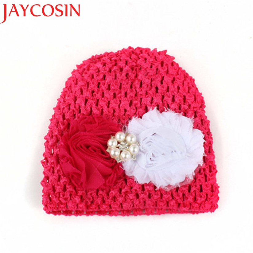 JAYCOSIN Baby Hats For Girls Winter Flower Knitted Hat Newborn Skullies Beanie Photography Props Drop Shipping igh new arrival lovely newborn hospital hat cute girls baby hats with flower bowknot flower hat high quality