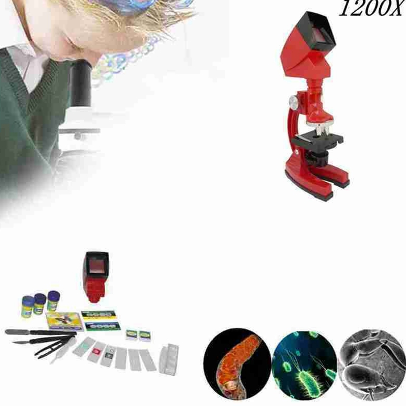 Free Shipping 1200X Kids Biological Microscope with LED Light and Projector Birthday Gift for Children monocular biological compound microscope led light and charger can be installed with rechargeable batteries