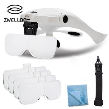 Przedłużanie rzęs 5 obiektyw regulowany pałąk lupa lupa z lampa ledowa okulary powiększające na sztuczne rzęsy tanie i dobre opinie zwellbe Inne Powyżej 1 5 cm 2023180 For Eyelashes Extension Practice Inne sztuczne rzęsy Maszyna wykonana 1 Piece Eyelash Extension Glass Magnifier