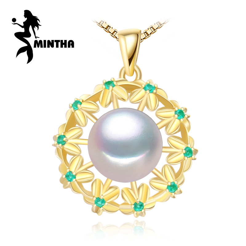 MINTHA fine jewelry pearl classic Geometric necklaces Pearl Pendant 925 Silver jewelry Pearl Choker Flower emerald Necklace