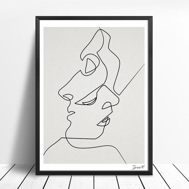 BAISER Une Ligne Dessin Visage Croquis Minimaliste Art Toile ...