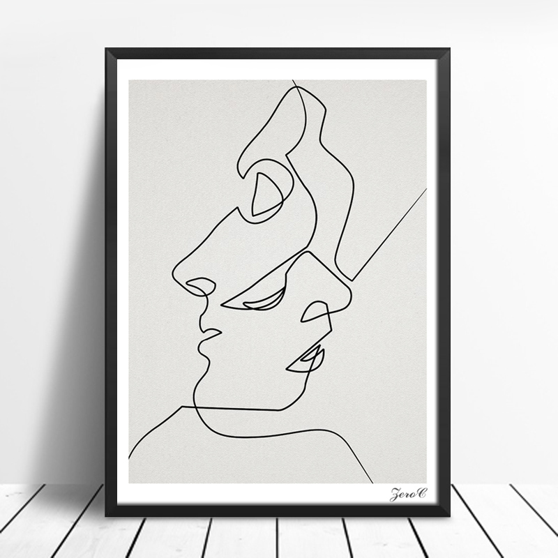 Abstract Face Line Drawing : Kiss one line drawing face sketches minimalist art canvas
