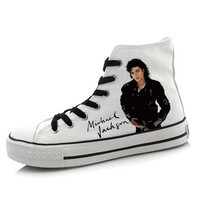 New Hand Painted Cosplay Michael Jackson Shoes Men Canvas Tide Shoes High Canvas Shoes High Quality