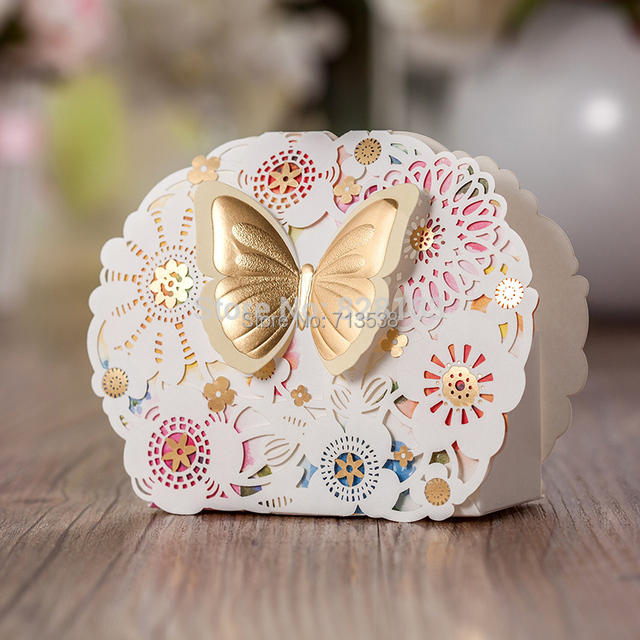 2017 Butterfly Laser Cut Wedding Favor Box Flower Candy Birthday Party Decorations Kids Decoration