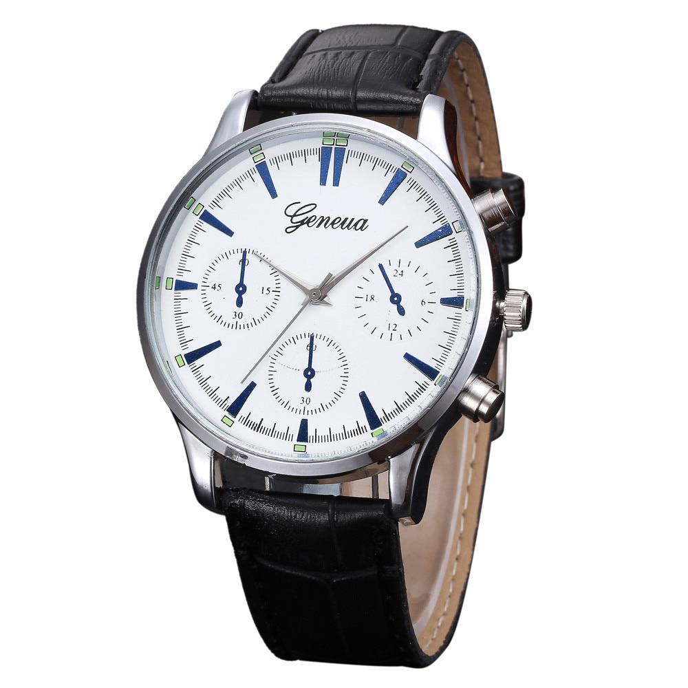 Mens Retro Design Leather Band Analog Alloy Quartz Wrist Watch Representative of the fashion world Real leather watches Luxury