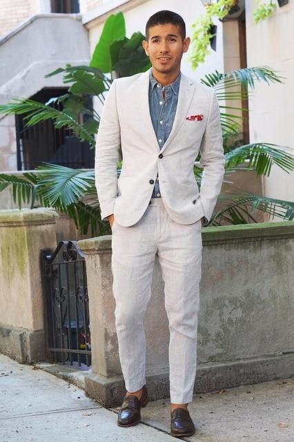 Latest Coat Pant Designs Ivory Casual Linen Custom Beach Wedding Suits For Men Groom Summer Jacket