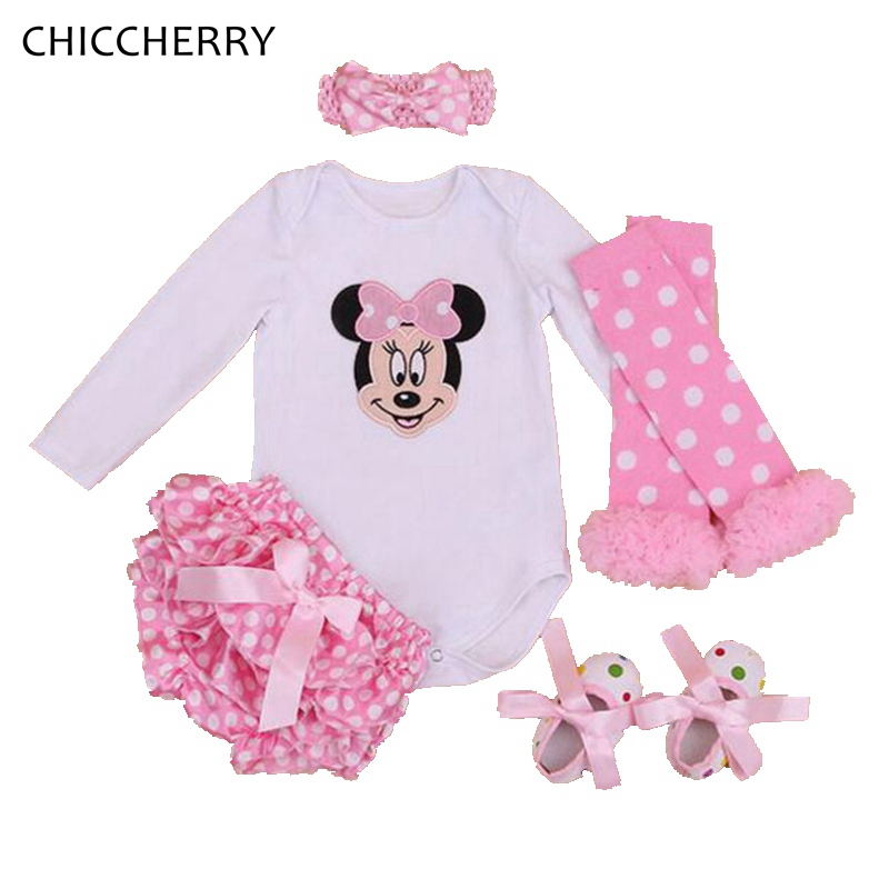 Fantasia Minnie Newborn Baby Girl Clothes Sets Long Sleeve Bodysuit Legwarmers Bloomers Headband Roupa De Bebe Infant Clothing baby girl clothing syriped short sleeve tshirt pant headband 2pcs set summer baby girls clothes set roupa de bebe