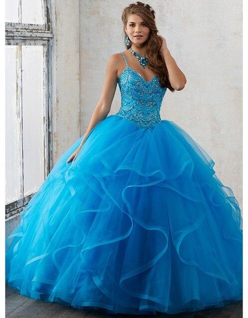 Novo azul 2017 vestido de baile quinceanera dresses spaghetti strap sweet 16 Anos Da Princesa Vestidos Para crianças de 15 Anos Vestidos De 15 Anos