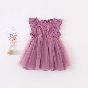 Image 5 - 2019 קיץ חדש הגעה קוריאנית גרסה כותנה טהור צבע כל התאמה נסיכת תחרה אפוד בועת שמלת עבור חמוד מתוק תינוק בנות