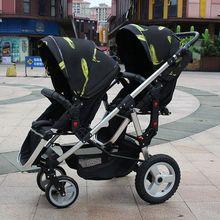 Двойная коляска для близнецов с высоким пейзажем, складная детская коляска 2 в 1, дорожная система, Детская Коляска-трость