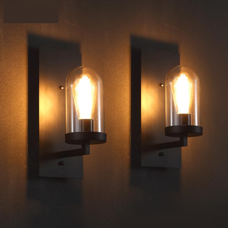 Hallway Retro Wall Sconce Glass Lamp Cover Black
