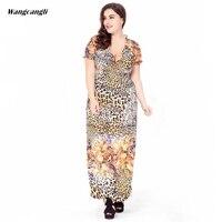 Wangcangli Summer Fashion Large Size Stringy Selvedge Short Sleeved Ice Silk Bohemian V Neck Dress Plus