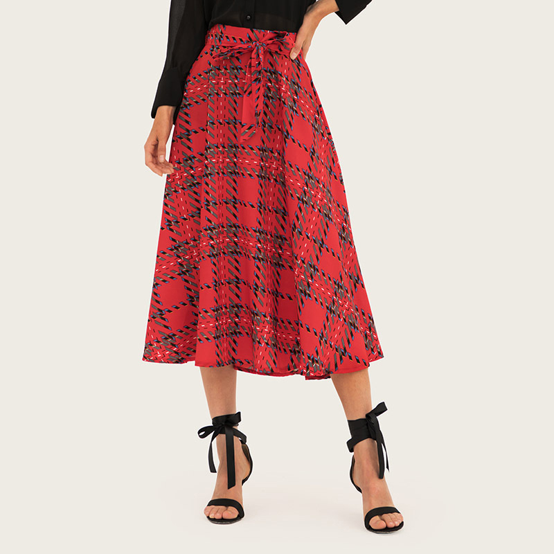 Wasteheart Summer Red Women Fashion Sexy Skirt High Waist Mid-Calf Skirt Plaid Printed Long Skirts Office Skirts A-Line Sashes