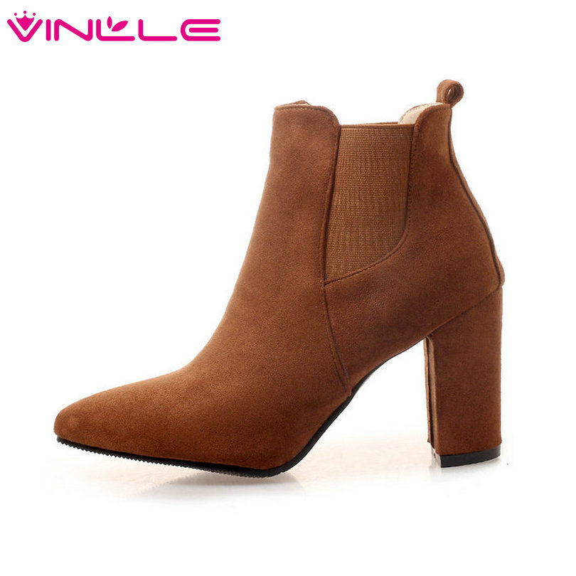VINLLE 2019 Autumn/Winter Women Shoes Ankle Boots High