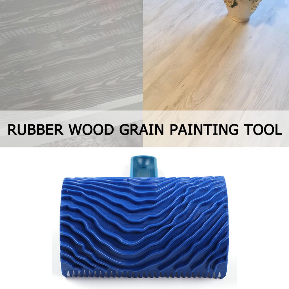 Wood Pattern Art Tool Imitation Durable Home Brush Decoration DIY Handle Rubber Wall Empaistic Graining Blue Painting Roller